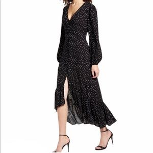Nordstrom's leith- black long sleeve button up high low hem dress